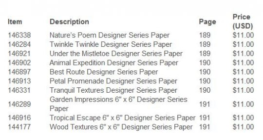 STAMPIN UP designer series paper sale